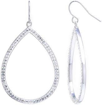 clear Sparkle Allure Large Open Teardrop Crystal Silver Plated Drop Earrings
