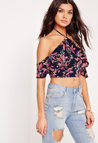 Missguided Palm Print Halter Neck Frill Crop Top Multi