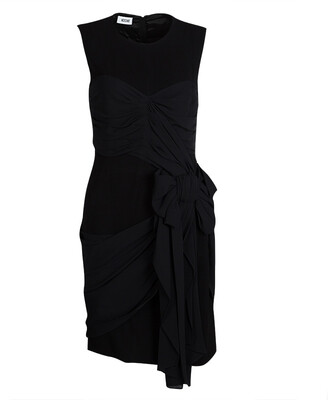 Moschino Black Draped Sleeveless Bow Detail Dress M