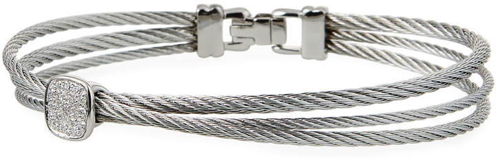 Alor 18k Diamond Cushion & Overlap Cable Bangle