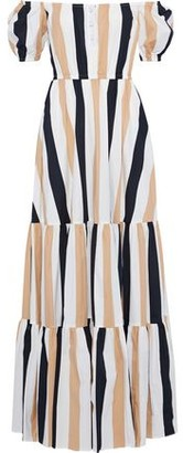 Caroline Constas Bardot Off-the-shoulder Striped Cotton-blend Voile Maxi Dress