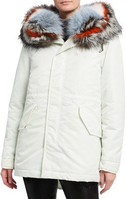 Mr & Mrs Italy Nylon Jacket w/ Fox Fur Hooded Trim