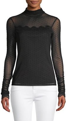 Laundry by Shelli Segal Sheer Dot Lace-Trim Top