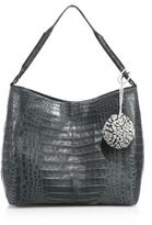 Nancy Gonzalez Crocodile Pom-Pom Hobo Bag