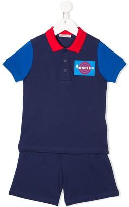 Moncler Enfant Logo Polo Shirt And Shorts Set