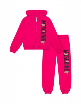 Moschino Teddy Logo Fleece Suit Unisex Fuchsia Size 4a It - (4y Us)