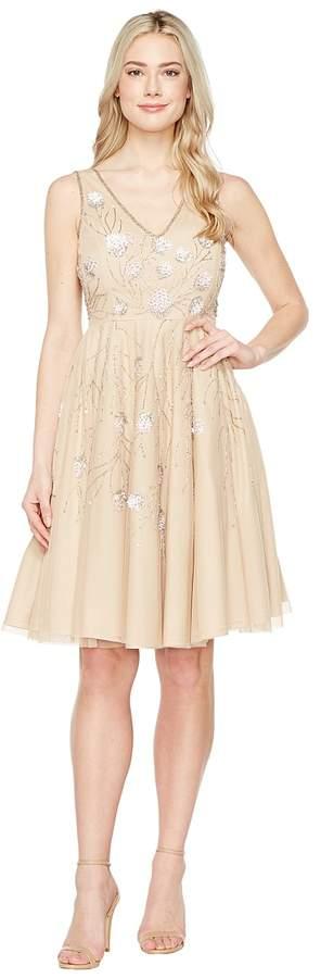 Adrianna Papell Sleeveless Tea Length Beaded Dress Women's Dress