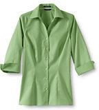 Classic Women's Petite 3/4 Sleeve Splitneck No Iron Pinpoint Shirt-Pale Emerald