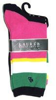 Lauren Ralph Lauren Women's Wide Stripe Trouser Socks 2 Pack, Navy/Pink Stripe