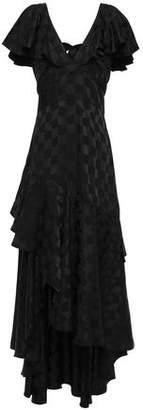 Temperley London Asymmetric Tie-back Ruffled Satin-jacquard Maxi Dress