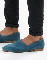 Asos Slip On Loafers in Relaxed Blue Suede