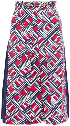 Carven Pleated Chain-embellished Printed Stretch-cotton Twill Midi Skirt