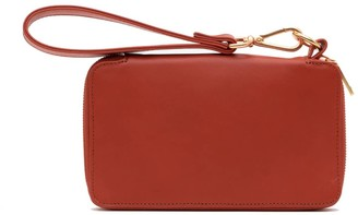 Holly & Tanager Champion Zip Around Leather Wallet In Orange