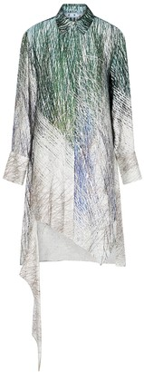 Off-White Bouroullec Spiral printed satin shirt dress