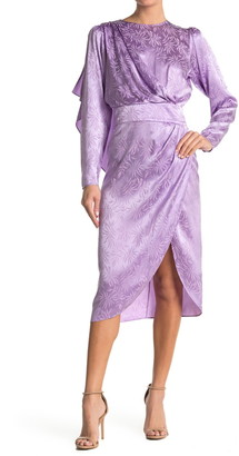 Ronny Kobo Jade Jacquard Leaf Design Silk Blend Midi Dress