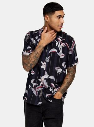 Topman Black Floral Lily Print Revere Shirt