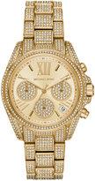 Michael Kors Women's Chronograph Mini Bradshaw Pavé Crystal & Gold-Tone Stainless Steel Bracelet Watch 33mm MK6494