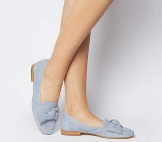 Office Foal Softy Bow Loafers Pale Blue Suede