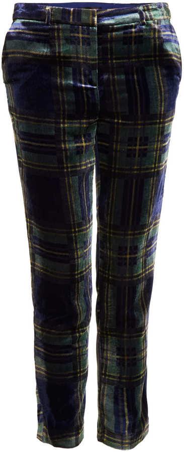 Topshop Check Velvet Tapered Trousers