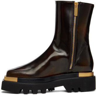 Peter Do Brown Metal Square Toe Combat Boots
