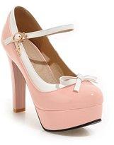 AO KAI E YU AOKAIEYU Fashion T Strap Bows Womens Closed Platform Sexy Stiletto High Heel Pump Shoes