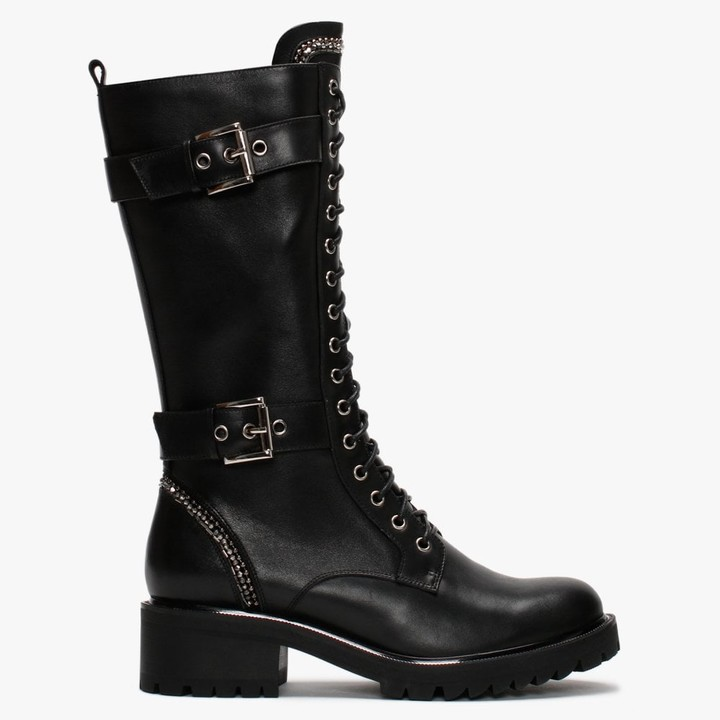 Daniel Pace Black Leather Embellished Calf Boots