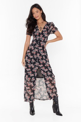 Nasty Gal Womens Anything Rose Tonight Floral Maxi Dress - black - 4