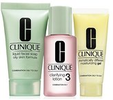 Clinique 3 Step Travel Size Set for Combination Oily to Oily Skin, Liquid Facial Soap Oily Skin (1 Oz) + Clarifying Lotion 3 (1 Oz) + Dramatically Different Moisturizing Gel (0.5 Oz)