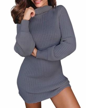 Auxo Women Sexy Jumper Dress High Neckline Long Sleeve Pullover Casual Tunic Sweatshirt Oversized Knitwear Tops Black Size L
