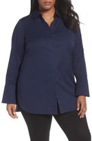 Foxcroft Plus Size Women's Non-Iron Stretch Poplin Tunic