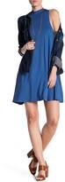Angie Mock Neck Solid Shift Dress