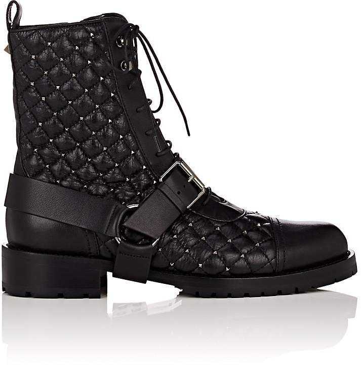 Valentino Women's Rockstud Spike Leather Combat Boots