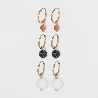 Universal Thread Semi-Precious Black Howlite, White Howlite & Moonstone Multi Hoop Earring Set 3pc - Universal ThreadTM
