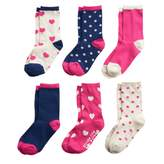 Stride Rite Toddler Girl 6-pack Polka-Dot & Heart Crew Socks