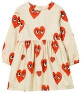 Mini Rodini Cream Heart Print Dress