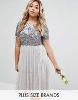 Lovedrobe Luxe Cap Sleeve Floral Embellished Dress With Tulle Midi Skirt