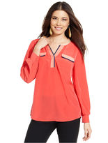 Style&Co. Top, Long-Sleeve Colorblock High-Low Blouse