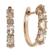 JCPenney FINE JEWELRY LIMITED QUANTITIES Genuine Morganite and 1/10 CT. T.W. Diamond Hoop Earrings