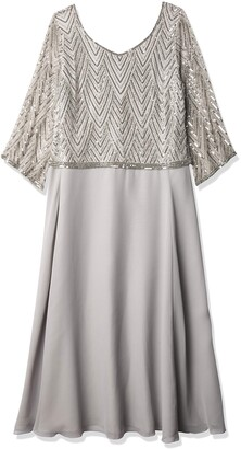 J Kara Women's Petite Scoop Neck 3/4 Sleeve Beaded Dress