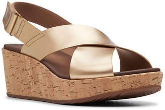 Clarks Womens Stasha Hale Wedge Sandals Wide Width