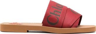 Chloé Woody flat logo-print sandal