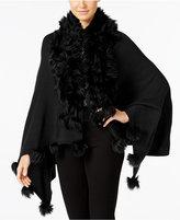 Alfani Faux-Fur-Trim Poncho, Only at Macy's