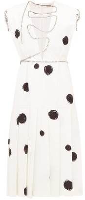 Christopher Kane Polka-dot Squiggle-cupchain Crepe Midi Dress - Womens - White Black