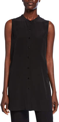 Eileen Fisher Button-Down Sleeveless Silk Crepe Shirt w/ Mandarin Collar