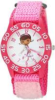 Disney Girl's 'Doc Mcstuffins' Quartz Plastic and Nylon Casual Watch, Color:Pink (Model: WDS000286)