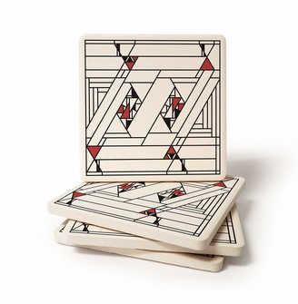 CoasterStone Absorbent Coaster Drinks Frank Lloyd Wright Dancing Glass Square 4.25 Inches Wide