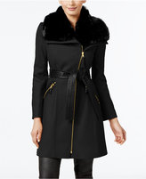 Via Spiga Petite Faux-Fur-Collar Mixed-Media Wool-Blend Walker Coat