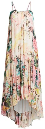 HEMANT AND NANDITA Floral High-Low Maxi Dress