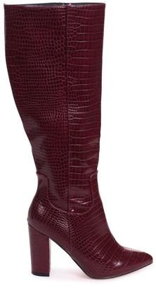 Linzi DIONNE - Burgundy Croc Cowboy Style Block Heel Long Boot