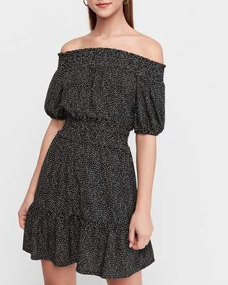 Express Off The Shoulder Smocked Waist Fit And Flare Dress